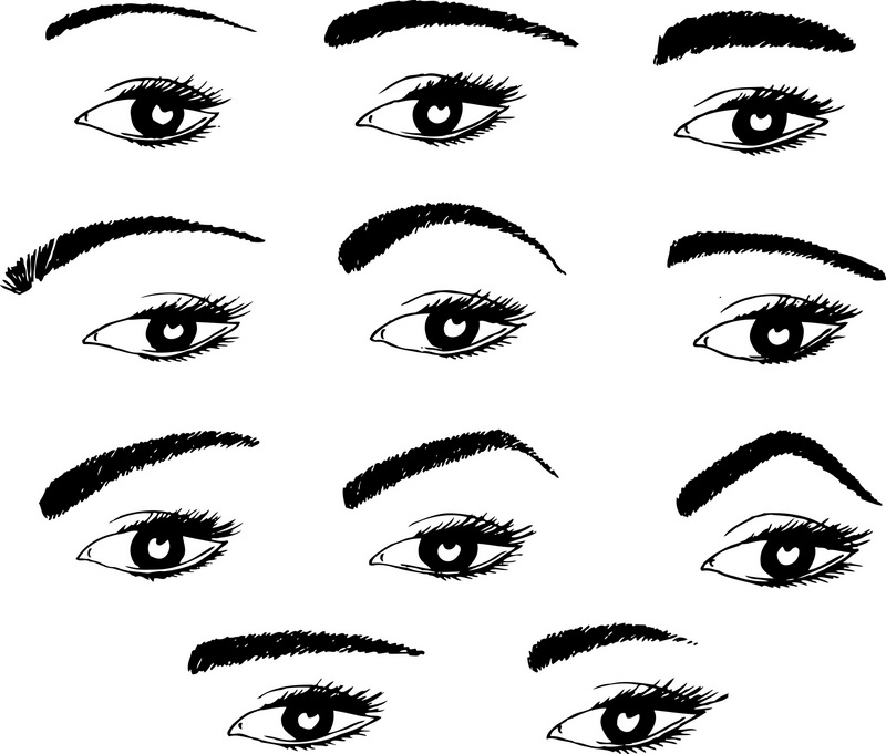 various shapes of eyebrows